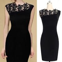 Women Black Lace dress Stretch Wrap Clubwear Cocktail Party Bodycon Pencil Dress S-XL free shipping