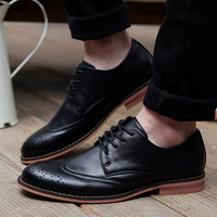 2014 The new men's leather shoes of England double color block leisure men's shoes  Brogue