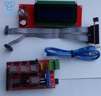 1pcs RAMPS 1.4+1pcs Mega 2560 R3  Controller + 4pcs A4988 Stepper Driver Module /RAMPS 1.4 2004 LCD  delta 3D Printer