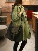 2014 winter Korea dark green lapel buttons Hitz long section loose casual windbreaker jacket women clothing