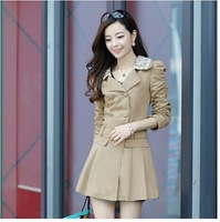 2014 new Autumn Elegant Women Cotton Patchwork Lace Sashes Double-Breasted Turn-Down Collar Casual Outwear Trench Coat