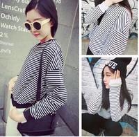 Hot Sale 2014 Autumn Women Loose Sweater Small Fresh College Wind short loose Stripe Shirt sleeved jacket.  Hoodies Women 3373