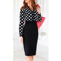 2014 New Arrival Black Dot Women Spring Long Sleeve V-Neck Evening Club Dress Knee-Length Dress Party Evening Elegant