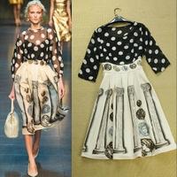 new fashion 2014 spring winter  women retro palace dot print dress stitching long maxi dresses