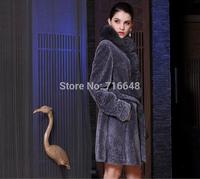 Sheep shearing fur one piece overcoat outerwear medium-long fox fur Women fashion