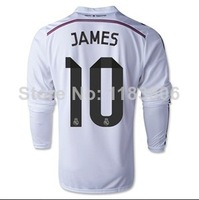 Real Madrid home white Long sleeve soccer jersey 2014-15 JAMES Real Madrid home Long sleeve jersey.Thai quality Free custom