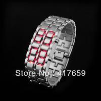 10pcs Fashion Blue & Red LED Digital Light Metal Unisex Lava Style Iron Watch wholesale Dropshipping