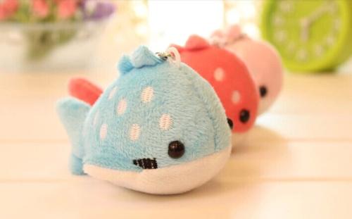 Super Kawaii CUTE Dots Whale 10CM Plush Stuffed Keychain & Phone Charm Strap DOLL TOY BAG Pendant Wedding Bouquet TOY Gift DOLL(China (Mainland))