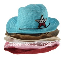 5pcs Children Boys Girls Straw Western Cowboy Sun Hat Cap Summer Big Brim Sunbonnet Free Shipping