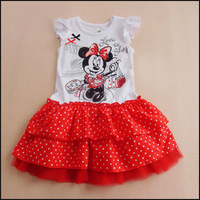 2014 Summer oh sale girls 100% cotton cheap fashion cartoon Mini print polka dot 3 levels cake dress