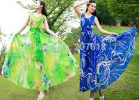 Summer Dress 2014 New Women Floral Print Maxi Dresses Plus Size Long Evening Dress Gown Bohemian Beach Dress