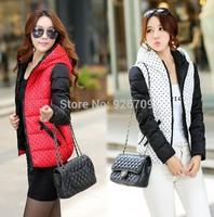 2014 Winter Coat Women in Women's wool & Blend Coats Fashion New Duck down&Parkas hooded Overcoat Clothing #013847,Free Ship