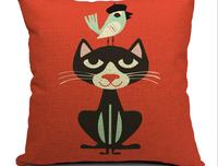 Moca Ikea Style 100% High Quality Cotton & Linen Pillow Cover Cushion Case, 18 X 18 Inch,  Cartoon cat