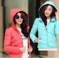 2014 Winter new Korean version of Slim short jacket hooded down jacket small waves female cotton women down Jacket coat