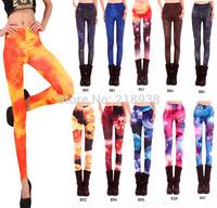 2014 free shipping Women Space print Pants graffiti Galaxy Leggings Black Milk Leggings Purple Black Milk Leggings Free Size