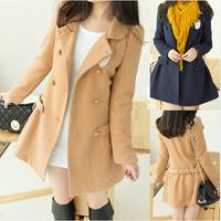 New Woman Coats 2014 Winter Slim Double Breasted Coat Wool Overcoat Woolen Outerwear Cotton-padded Jacket Female Casaco Feminino
