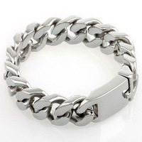 Classics  Cool Mens Silver High Polish Stainless Steel 20mm Heavy Curb Cuban Link Chain Bracelet Bangle 9inch Jewelry