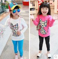 Free shipping Retail 2014 autumn new z cartoon children roundneck shirt girl clothing long sleeved T-shirt on behalf of