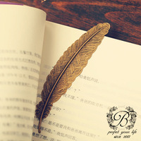 Feather beadding bookmark Retro metal bookmark  5pcs/lot