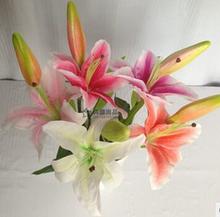 único cores tigre simulação lillies fazer arranjos de flores artificiais arte para sala adorno dysp063 direção(China (Mainland))