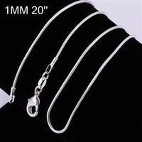 Free Shipping, 925 silver jewelry Beautiful fashion jewelry 1 mm 20 inch bead chain CC08