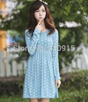 2014 Autumn Vintage Polka Dot Geometric Print Flower Casual Dress Women Dress cute Fall Dresses Girls flower printed Dress 234