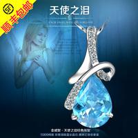 Silver necklace s999 pure silver female 999 fine silver pendant pure silver necklace short design gem chain