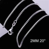 Free Shipping, 925 silver fashion jewelry 2mm 20 Inch Box chains CC09