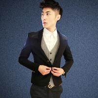 2014 Autumn new fashion men woolen suit fight skin Slim suits casual jackets
