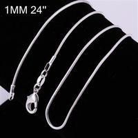 Free Shipping, 925 silver jewelry Beautiful fashion jewelry 1 mm 24 inch bead chain CC08