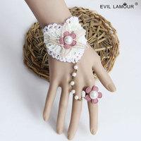 Min.order $15 Fresh Heart Lace Wriststrap Bracelet Vintage Sea Star Chain Bracelet Fashion Party Jewelry Best Lover Gift WS-302