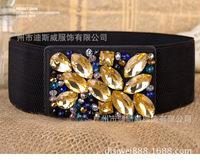 New Crystal Rhinestone Belt gem inlaid girdle black elastic ultra wide decorative belt for female female fur accessories