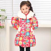 Child down coat female child princess baby outerwear velvet hat super large