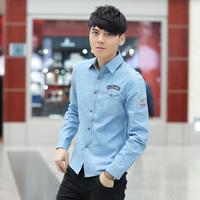 2014 autumn models hot menswear jeans badges shirts Korean fashion slim long-sleeved shirt