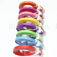 2M 6 Feet Colorful noodle Charging USB Data Sync Cable For iPhone 5 5C 5S For iPad mini ipod nano 7 ipad 4 ipad air For ios 7