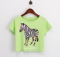 2014 Korean Harajuku Cartoon Pony Horse Printed Crop Top For Women Casual Short Tops T Shirts Graphic Tee junior clothing roupas