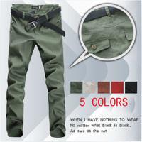 Men's new fashian pockets design zipper casual long pants