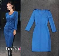 Vestidos Dresses New 2014 Women summer dress solid V-neck European and American fashion girl evening dress women dress XL