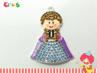 Newest ! 10pcs/lot  Snow Princess Rhinestone Pendants With Brown Hair