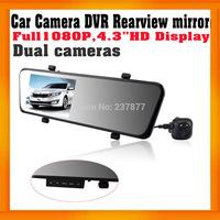 "FHD1080P Car DVR Rearview mirror 4.3"" Display Dual Lens Night vision Allwinner Car Black box Built in G-Sensor GPS Logger option"