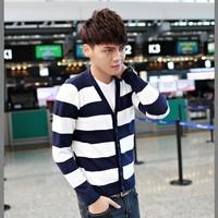 14 autumn V-neck stripe cardigan sweater male 100% cotton sweater male blue