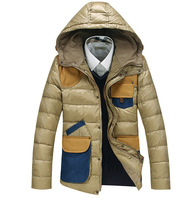 New 2014 Winter Men'S Down Jacket Brand Casual Features Stylish Mosaic Hooded Down Coats  Men Down Coat Jackets  XG-172