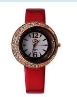 HOT!New 2014 Fashion Women leather strap watches quartz wristwatch dress watch flower design smart watch