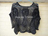 Black Crochet Crop Top Women Blouse Summer Cover Up Hairpin Crochet Pattern