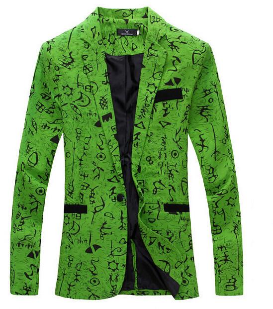 men blazer slim fit 2014 suit men Cotton and linen flower cloth color matching leisure jacket men suit 9 color M-XXL(China (Mainland))