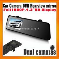 "Rearview mirror Car DVR Recorder 4.3"" Screen Dual Lens Night vision Allwinner Car Black box Built in G-Sensor GPS Logger option"