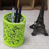 Fashion Hollow Out Flower Design Round Metal Painting Antirust Pen Case Desktop Storage Pen Pot Durable Pen Box 8.5*10.1cm C8001