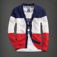 2014 spring 3 colorant match cardigan cotton 100% V-neck male Leisure slim sweater