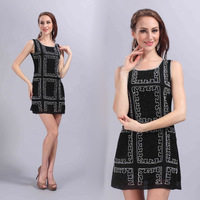 New 2014 embroidery sequined  cocktail dresses, women summer dress, party dress, ladies formal dresses,  , free shipping