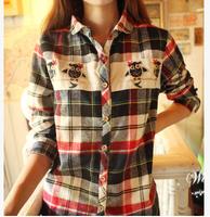 2014 autumn new fashion women clothing blusas femininas,long sleeve plaid embroidery preppy style camisas woman blouses,S/M/L